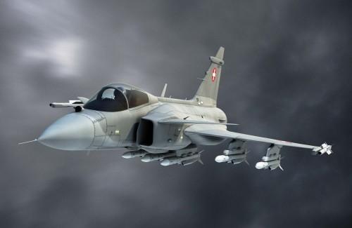 Gripen-nas-cores-da-Força-Aérea-Suíça-ilustração-Saab