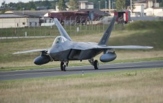 An F-22 Raptor fighter aircraft taxis after landing at Spangdahlem Air Base, Germany, Aug. 28, 2015, as part of the inaugural F-22 training deployment to Europe. The F-22s are deployed from the 95th Fighter Squadron at Tyndall Air Force Base, Fla., as part of the European Reassurance Initiative and will conduct air training with other Europe-based aircraft while demonstrating U.S. commitment to NATO allies and the security of Europe. (U.S. Air Force photo by Staff Sgt. Chad Warren/Released)
