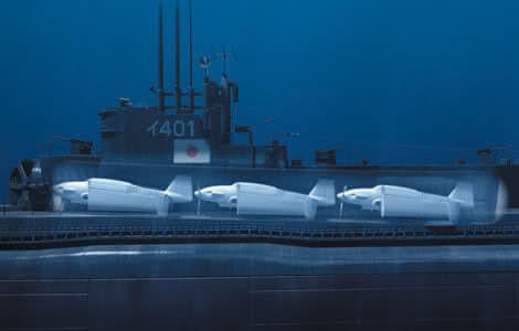 CGI image: GFX SHOT; THREE SEIRANS SITTING INSIDE THE HANGER OF I-401 SUBMARINE. (Photo credit: © WLP )